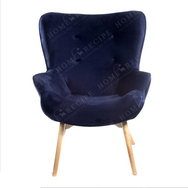 Πολυθρόνα 'Scandi' Βελούδινη 'Dark Blue', Με Ξύλινα Πόδια