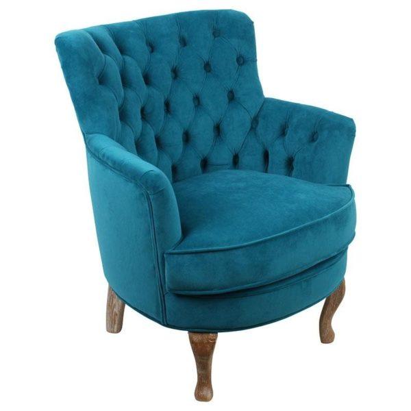 Πολυθρόνα Βελούδινη Μπλε Καπιτονέ, Με Ξύλινα Πόδια