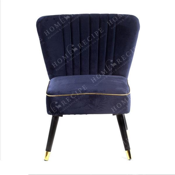 Πολυθρόνα Βελούδινη 'Dark Blue' Με Χρυσό Ρέλι Και Μαύρα/ Χρυσά Πόδια