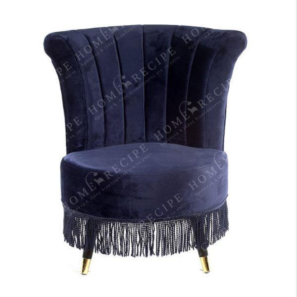 Πολυθρόνα Βελούδινη Vintage 'Dark Blue' Με Κρόσια