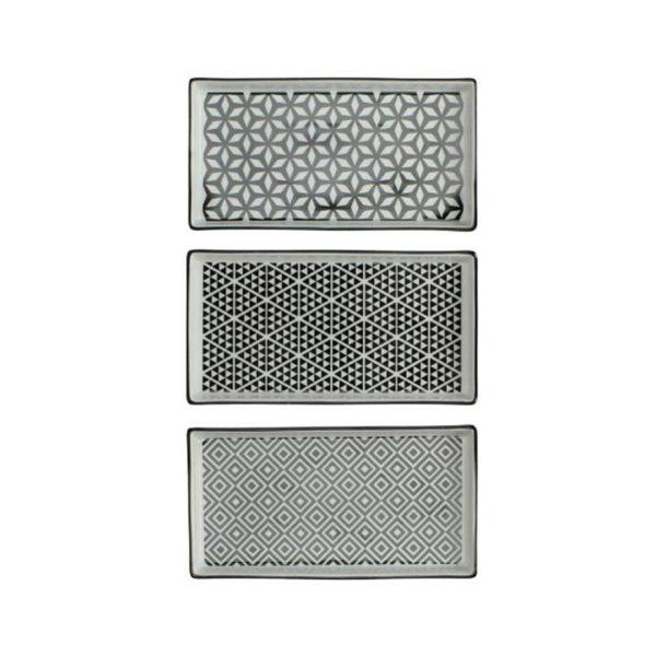 Πορσελάνινη Πιατέλα/ Βάση Με Ασπρόμαυρα Μοτίβα Σε 3 Σχέδια, Μ21.5
