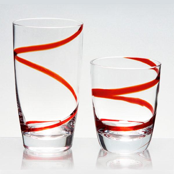 Ποτήρι Φυσητό Κρασιού 6 Τεμαχίων Spiral Red