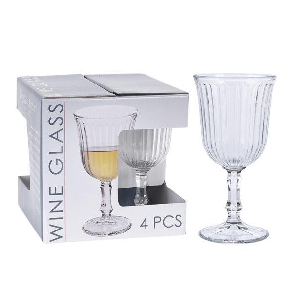 Ποτήρι Του Κρασιού 'Victoria' Με Ανάγλυφο Σχέδιο, Σετ Των 4