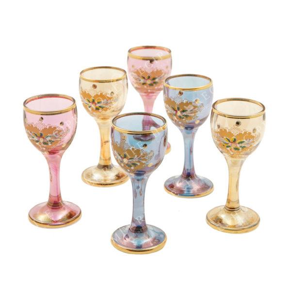 Ποτήρια Γυάλινα Λικέρ Χρωματιστά Με Χρυσές Λεπτομέρειες, Σετ Των 6