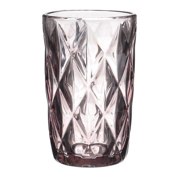 Ποτήρια Νερού Γυάλινα Με Ανάγλυφο Σχέδιο Μωβ Υ13, Σετ Των 6