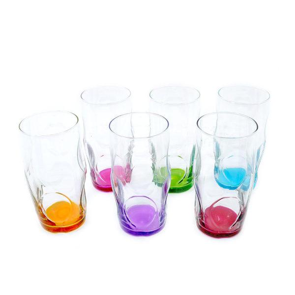 Ποτήρια Νερού Γυάλινα Με Χρωματιστό Πάτο 'Luna' 373cc, Σετ Των 6