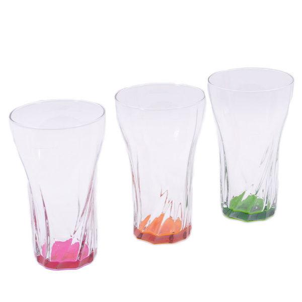Ποτήρια Νερού Γυάλινα Με Χρωματιστό Πάτο 'Maria' 375cc, Σετ Των 6
