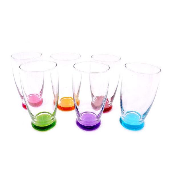 Ποτήρια Νερού Γυάλινα Με Χρωματιστό Πάτο 'Roma' 396cc, Σετ Των 6