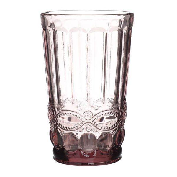 Ποτήρια Νερού Vintage Μωβ Με Ανάγλυφο Σχέδιο, Σετ Των 6