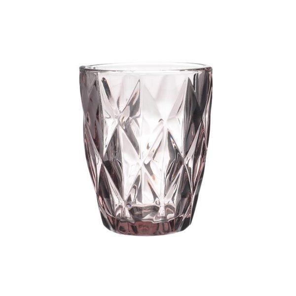 Ποτήρια Ουίσκι Γυάλινα Με Ανάγλυφο Σχέδιο Μωβ Υ10, Σετ Των 6