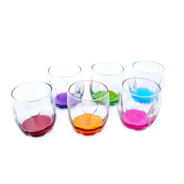 Ποτήρια Ουίσκι Γυάλινα Με Χρωματιστό Πάτο 'Luna' 352cc, Σετ Των 6