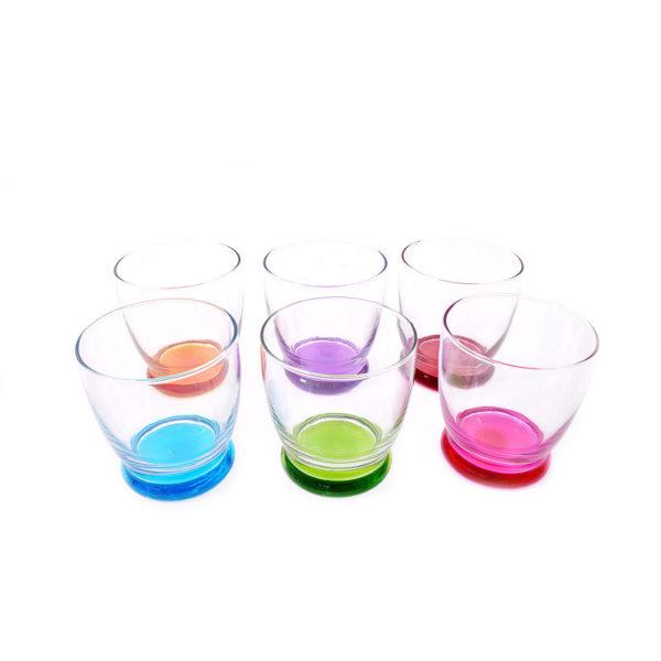 Ποτήρια Ουίσκι Γυάλινα Με Χρωματιστό Πάτο 'Roma' 343cc, Σετ Των 6