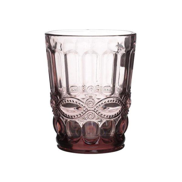 Ποτήρια Ουίσκι Vintage Μωβ Με Ανάγλυφο Σχέδιο, Σετ Των 6