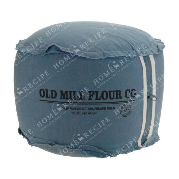 """Πουφ Υφασμάτινο Μπλε """"Old Mill Flour Co"""" Δ50 Υ30"""