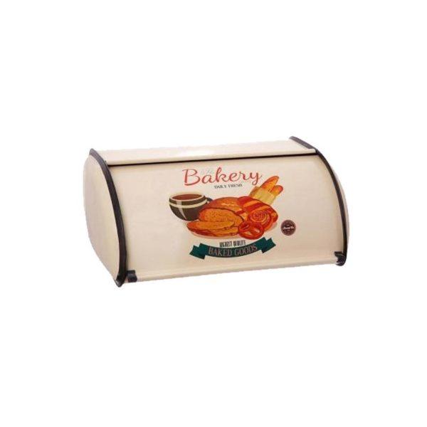 """Ψωμιέρα Vintage Μεταλλική Μπεζ Με Σχέδιο """"Baked Goods'' 32x21x16"""