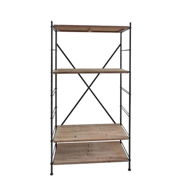 Ραφιέρα 4θέσια Industrial Με Μεταλλικό Σκελετό Και Natural Wood Ράφια Μ90.2 Υ174