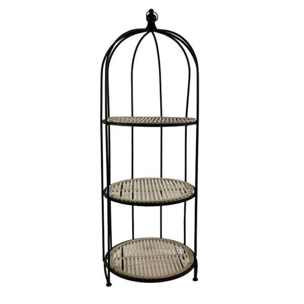 Ραφιέρα Μεταλλική Μαύρη Με 3 Ράφια Πλεκτά Μπαμπού Natural 'Cage' 41.5x40 Υ112