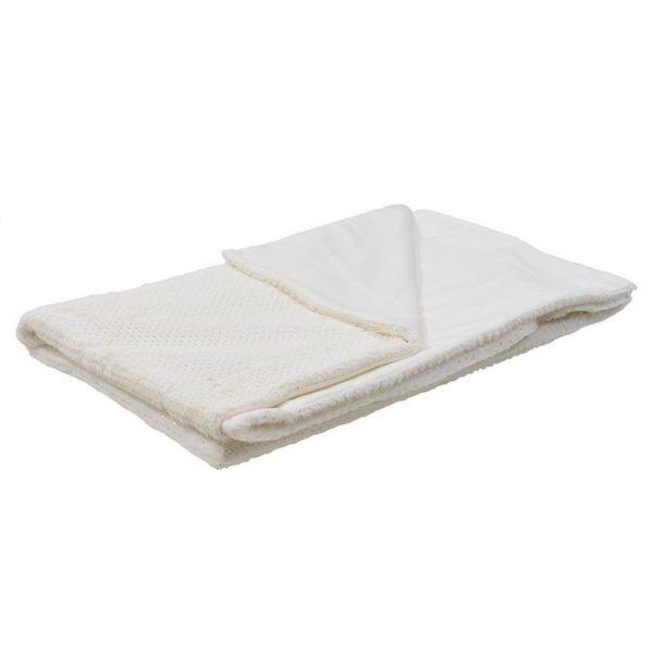 Ριχτάρι Λευκό Γούνινο 'Silver Dot' 150x180