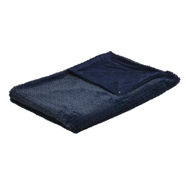 Ριχτάρι Με Υφή Γούνας Μπλε 150x180, Inart