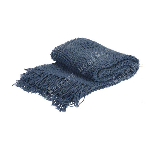 Ριχτάρι Πλεκτό Βαμβακερό Μπλε Με Κρόσσια 130x170