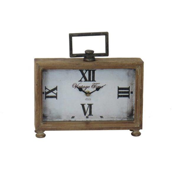 Ρολόι Επιτραπέζιο Ορθογώνιο Ξύλινο Με Λαβή 'Vintage Time' 25x17.5x6