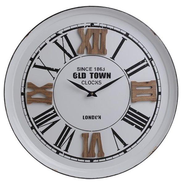"""Ρολόι Μεταλλικό Με Ξύλινους Αριθμούς Λευκό/ Μαύρο """"Old Town""""  Δ60"""