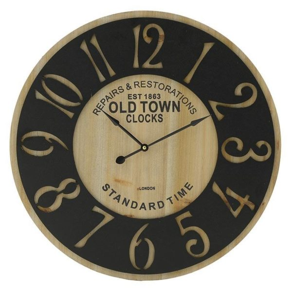 Ρολόι Τοίχου Μεταλλικό Μαύρο/ Natural 'Standart Time' Δ58, Inart
