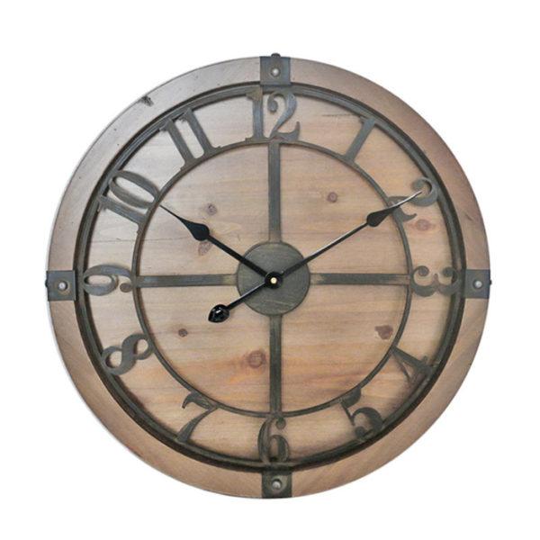 Ρολόι Τοίχου Rustic Ξύλινο Καφέ Με Μεταλλικό Καντράν Δ60