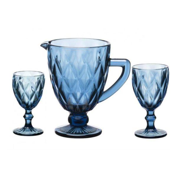 """Σετ 12 Ποτήρια Και Κανάτα """"Kare Blue"""""""