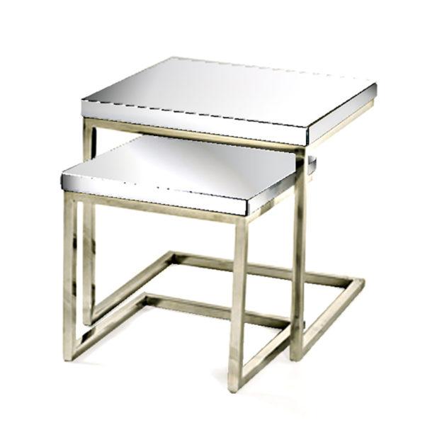 Σετ 2 Τραπέζια Ζιγκόν Inox/ Καθρέπτης