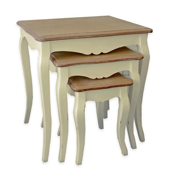 Σετ 3 Τραπέζια Ζιγκόν Κρεμ Παλαιωμένα Με Καφέ Καπάκι 30x45x50