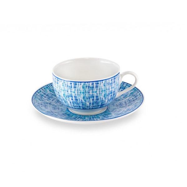 Σετ Φλυτζάνι Του Τσαγιού Με Πιάτο Navy Blue Με Γαλάζια Μοτίβα