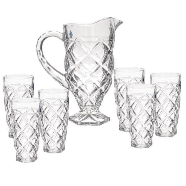 Σετ Κανάτα Και 6 Ποτήρια Γυάλινη Διάφανη 'Rombies' 1L/312ML