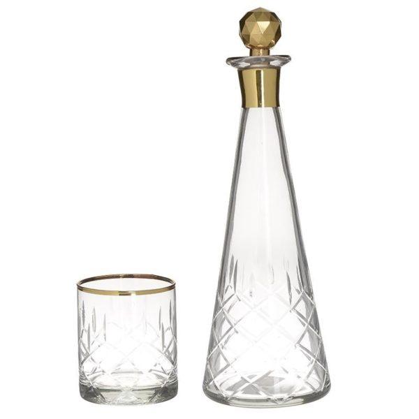 Σετ Καράφα Με 6 Ποτήρια Με Χρυσή Μπορντούρα Και Ανάγλυφα Σχέδια