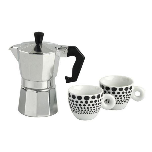 Σετ Μηχανή Espresso Και Φλυτζάνια Espresso 100cc Μαύρα Πουά