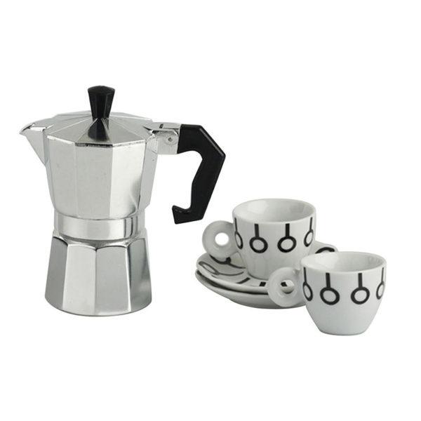 Σετ Μηχανή Espresso Και Φλυτζάνια Espresso 100cc, Μαύρα Σχέδια