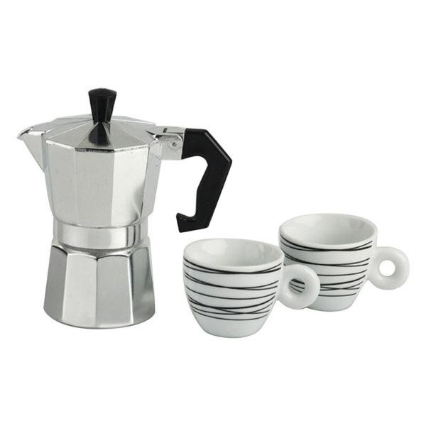 Σετ Μηχανή Espresso Και Φλυτζάνια Espresso 100cc Μαύρες Ρίγες