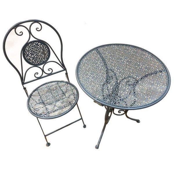 Σετ Τραπέζι Μεταλλικό Γκρι Με 2 Καρέκλες Διάτρητο Σχέδιο Δ60 Υ70