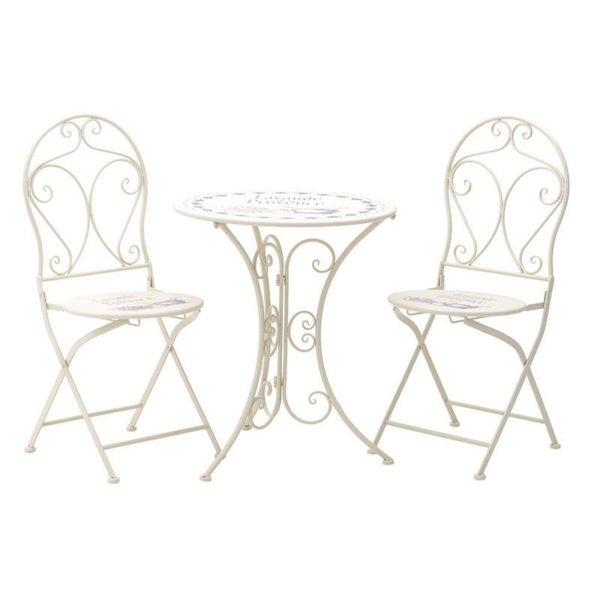 Σετ Τραπέζι Μεταλλικό Λευκό Με 2 Καρέκλες Με Τύπωμα Δ60 Υ70