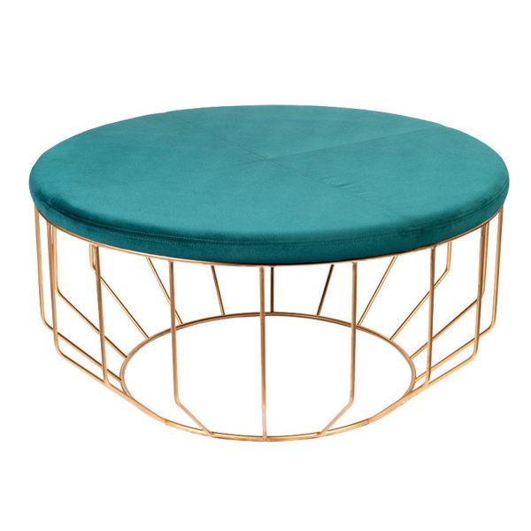 Σκαμπό/ Ταμπουρέ Στρογγυλό Βελούδινο Emerald Με Χρυσή Μεταλλική Βάση Δ90