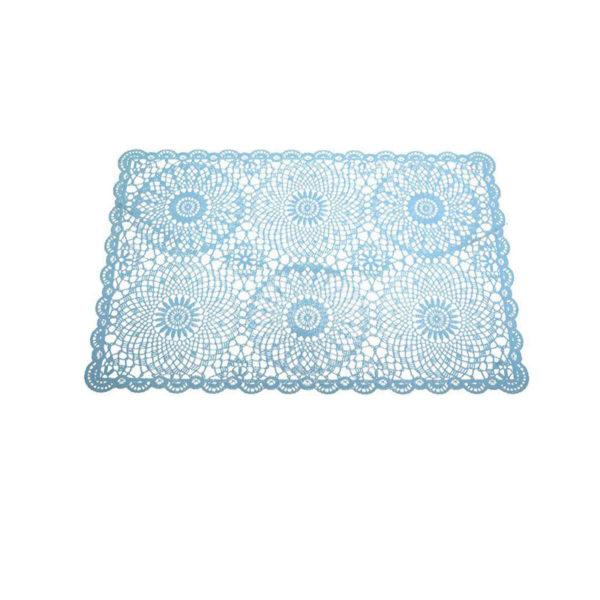 """Σουπλά """"Crochet"""" Γαλάζιο 45x30, Σετ Των 4"""