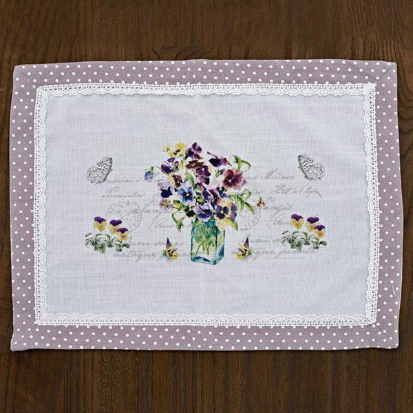 Σουπλά Μωβ Λευκό Πουά Υφασμάτινο Με Μωβ Λουλούδι