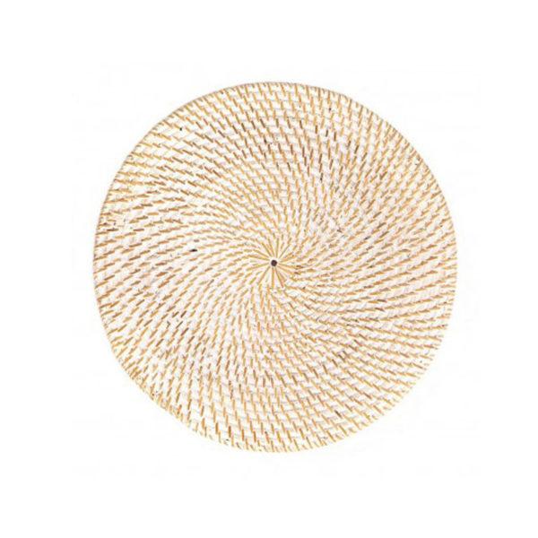 Σουπλά Στρογγυλό Ρατάν Λευκό/ Natural Δ30