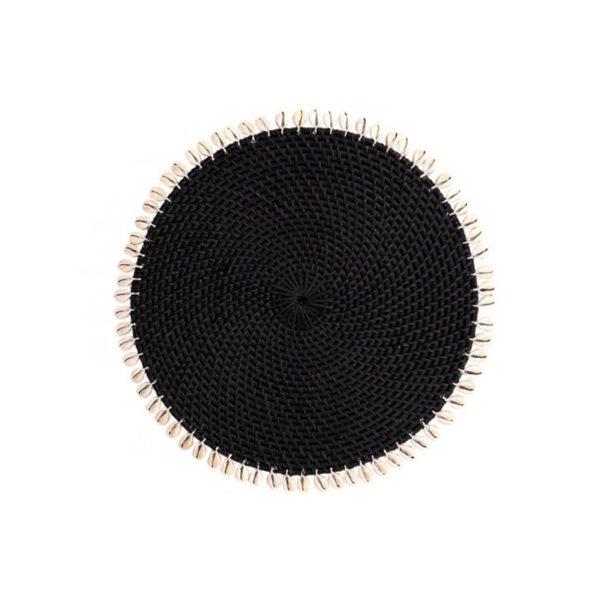 Σουπλά Στρογγυλό Ρατάν Με Κοχύλια Μαύρο Δ35