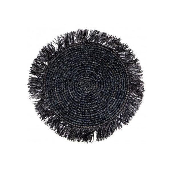Σουπλά Στρογγυλό Ρατάν Με Κρόσια Μαύρο Δ40