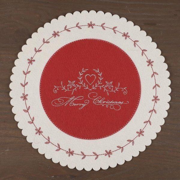 """Σουπλά Τσόχινο """"Merry Christmas"""" Εκρού/ Κόκκινο Δ35"""