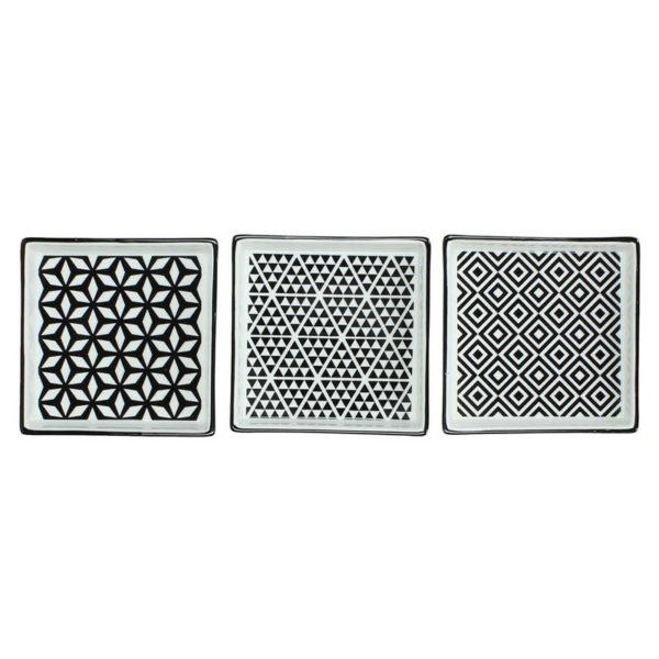 Σουβέρ Πορσελάνινο Τετράγωνο Με Ασπρόμαυρα Γεωμετρικά Μοτίβα Σε 3 Σχέδια, Μ11.5