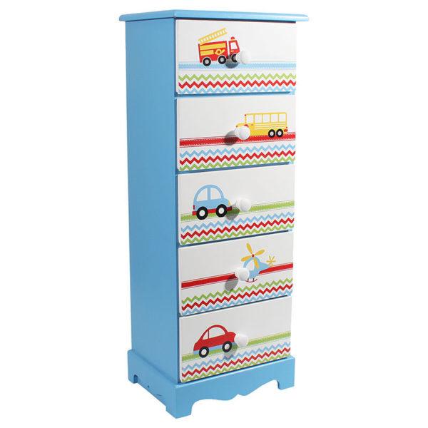 Συρταριέρα Παιδική Ξύλινη Γαλάζια Οχήματα