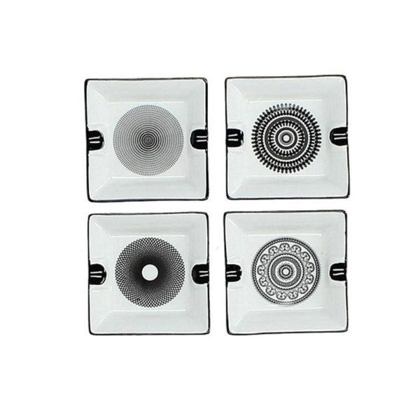 Τασάκι Πορσελάνινο Λευκό/ Μαύρο 16x16, Σετ Των 4
