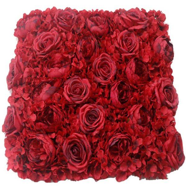 Τεχνητή Φυλλωσιά Ορτανσία Με Τριαντάφυλλο Και Παιώνια Κόκκινη 50x50
